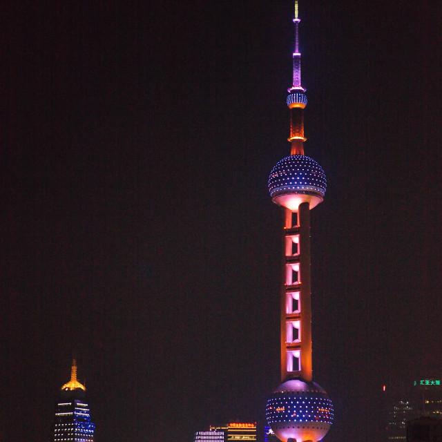"""Shanghai Pearl Tower at Night"" stock image"