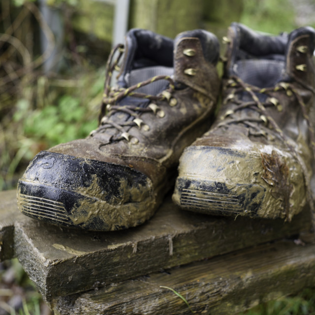 """Muddy Pair of Hiking Boots"" stock image"