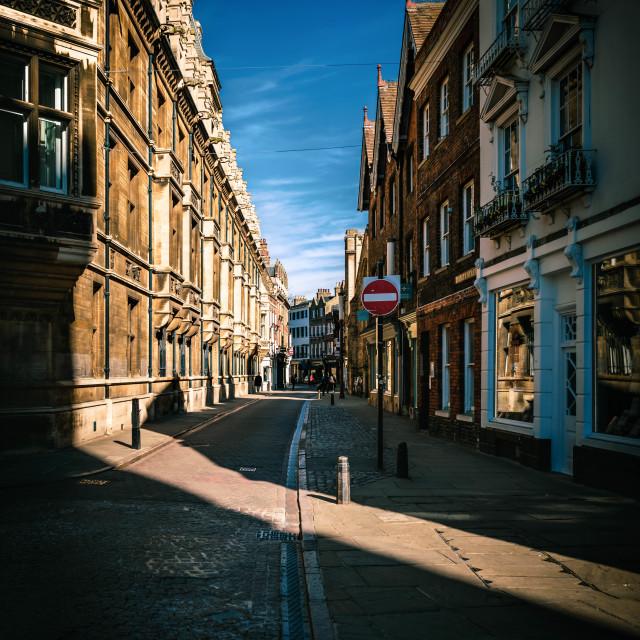 """""""Sunrise, Trinity Street, Cambridge UK."""" stock image"""