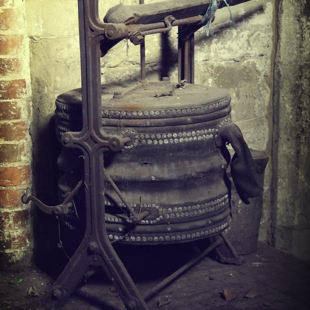 """Old Blacksmiths Bellows"" stock image"