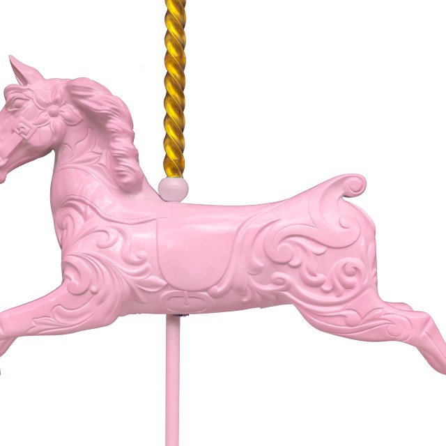 """""""Isolated Pink Carousel Horse"""" stock image"""