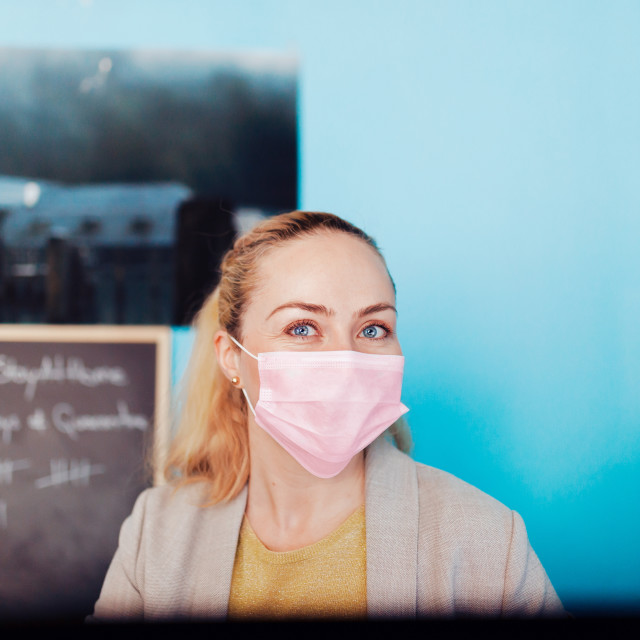 """""""Woman teleworking in her house during biological quarantine"""" stock image"""