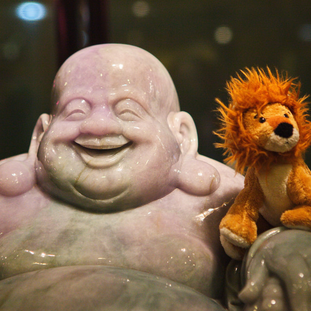 """""""Roary and the Buddha"""" stock image"""