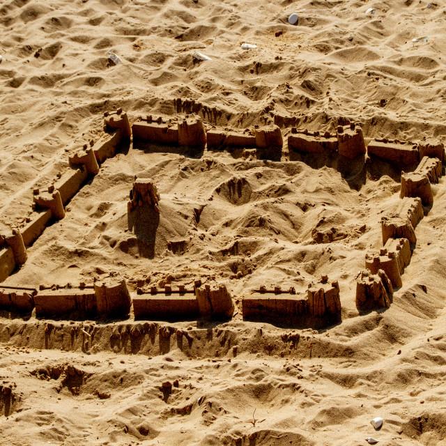 """Sandcastle on Bridlington Beach"" stock image"