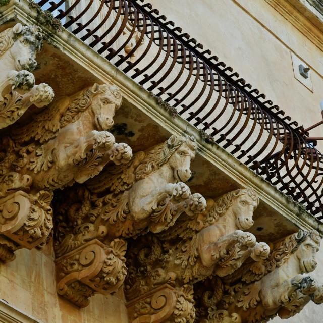 """Sicilian baroque balcony"" stock image"
