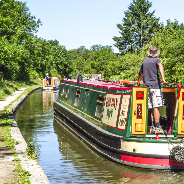 """Narrowboats on the Grand Union Canal, Northamptonshire, UK"" stock image"