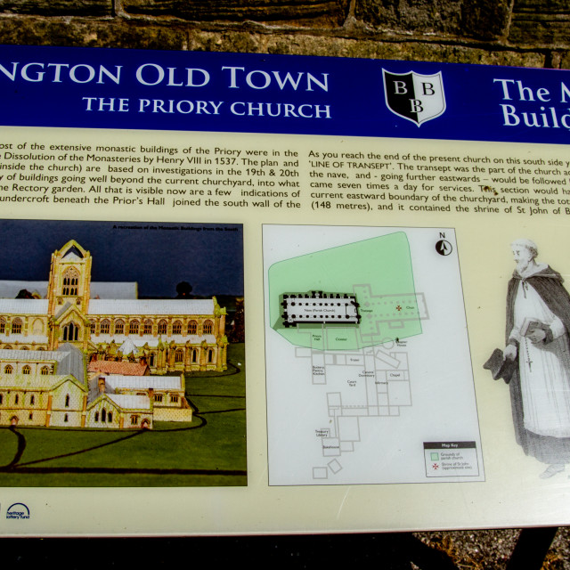 """Priory Church of St Mary, Bridlington. Display Information Board."" stock image"