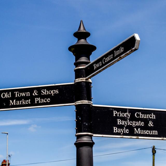 """Bridlington Heritage Signpost"" stock image"