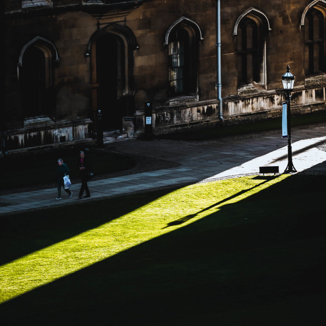 """Sun shining through King's College, University of Cambridge UK."" stock image"