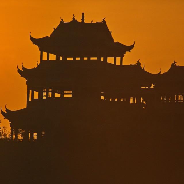 """""""Sunrise Silhouette on the Yangtze"""" stock image"""