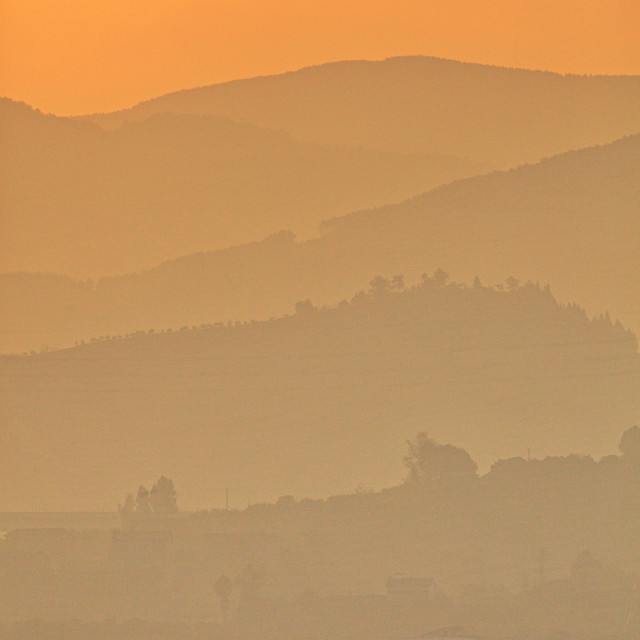 """Misty Yangtze Sunrise"" stock image"