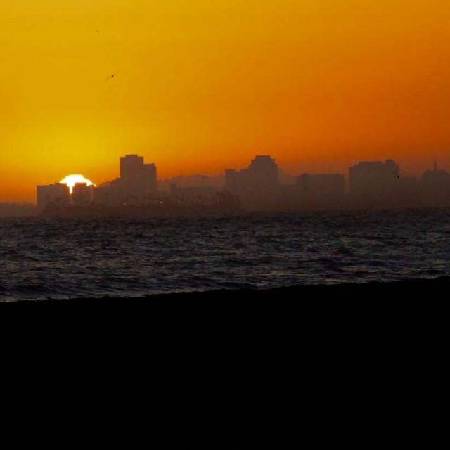 """Downtown LB sunset"" stock image"