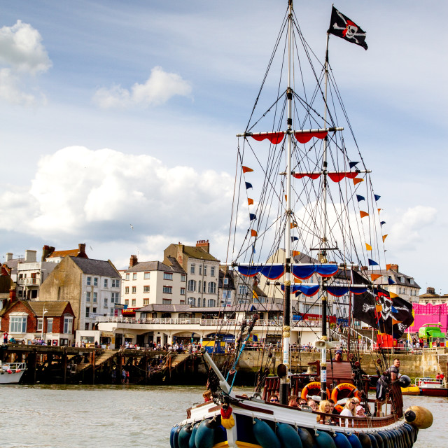 """Pirate Boat Leaving Bridlington Harbour"" stock image"
