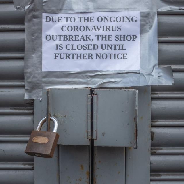 """""""Coronavirus Closed Store Sign"""" stock image"""