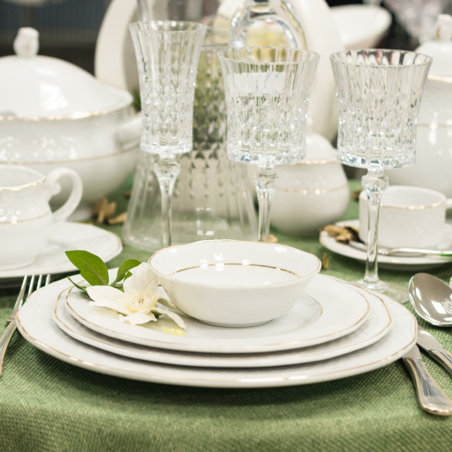 """""""Set of dishes on table"""" stock image"""