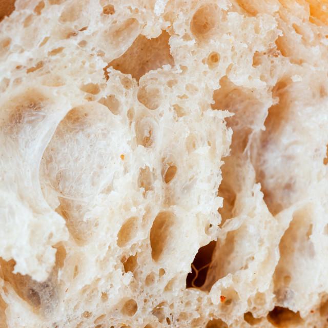 """close up shot of white sourdough bread slice"" stock image"