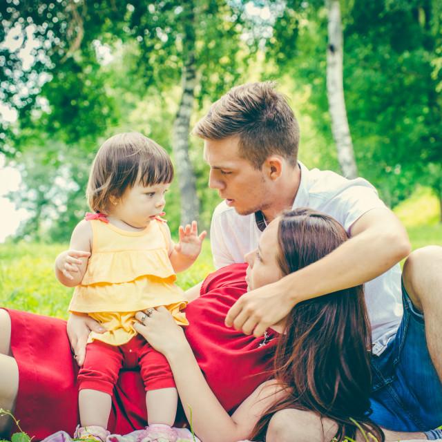 """""""Parents tired of baby"""" stock image"""