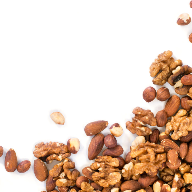 """""""Background of mixed nuts with copy space"""" stock image"""