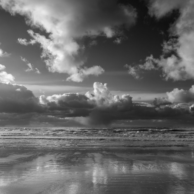 """Storm squall approaches Borth Beach"" stock image"
