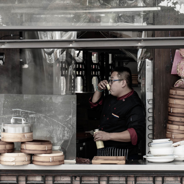 """""""traditional chinese dumpling shop"""" stock image"""