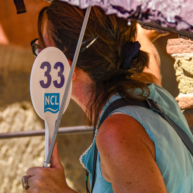 """""""Tour guide holding up a sign for visitors to follow her on a walking tour in Sorrento."""" stock image"""