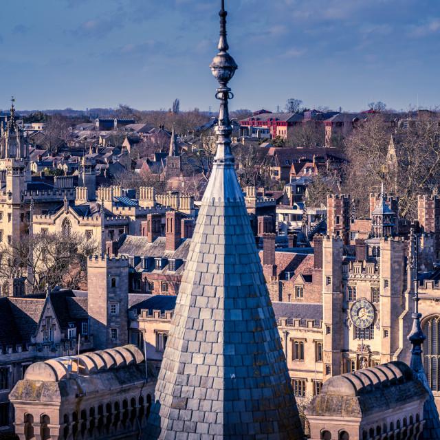 """Spire of Gonville & Caius College, University of Cambridge."" stock image"