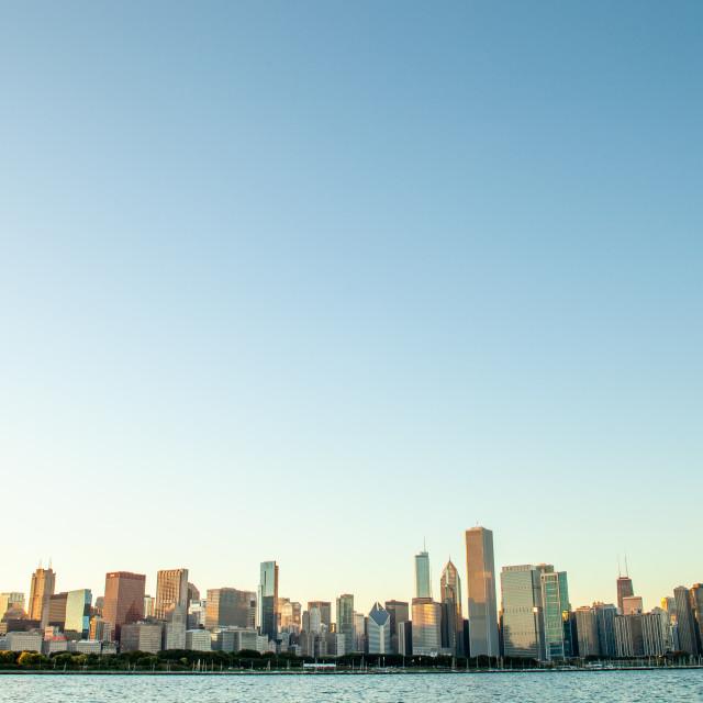 """""""Chicago Skyline At Dusk"""" stock image"""