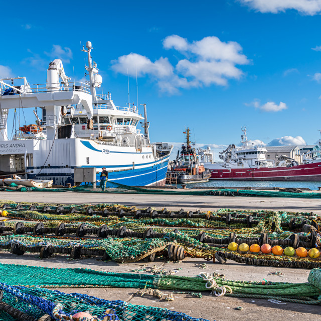 """Fishing Nets Drying on the Quay, Fraserburgh, Scotland"" stock image"