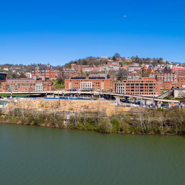 """""""Aerial drone panorama of the campus of the university in Morgantown, West..."""" stock image"""