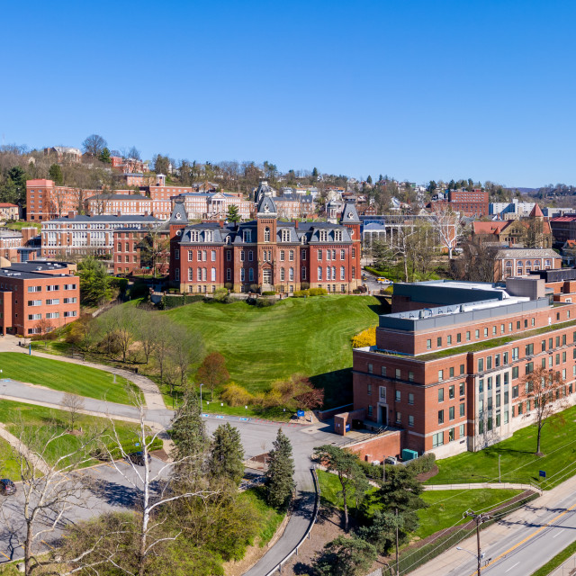 """""""Aerial drone panorama of the Woodburn Hall at the university in Morgantown,..."""" stock image"""