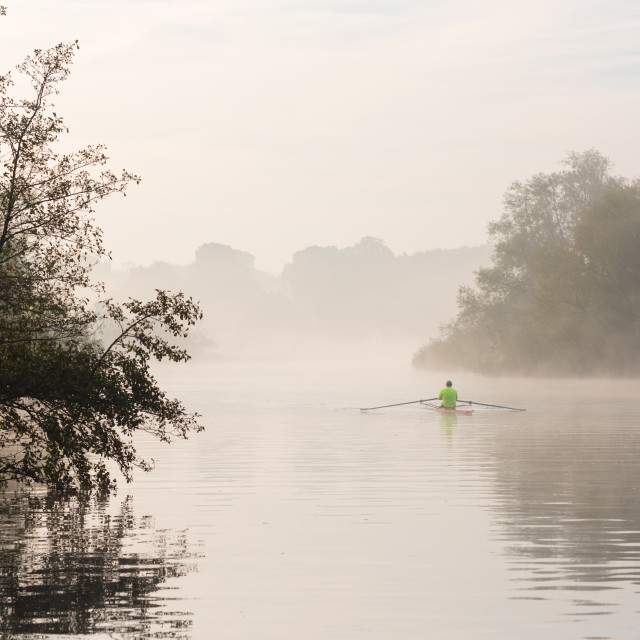 """Single sculling rowing boat on misty river i."" stock image"