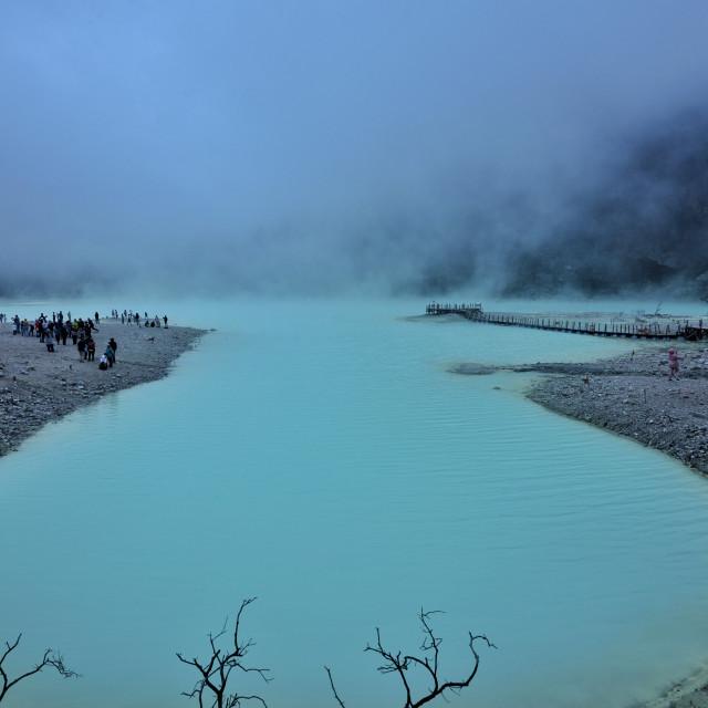 """""""White Crater Lake"""" stock image"""