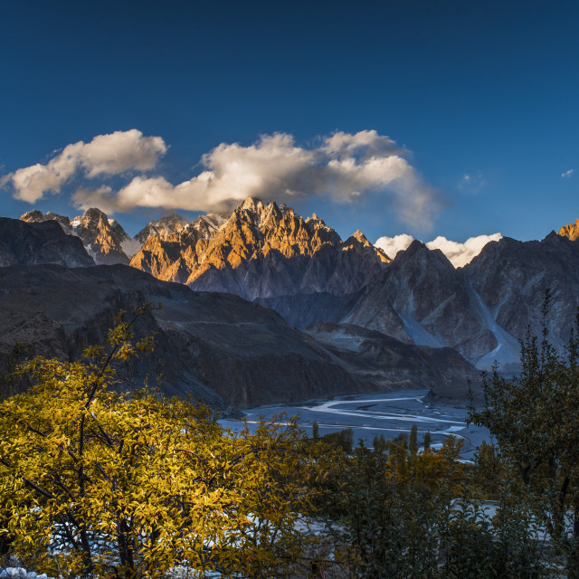 """Passu mouitains at sunset"" stock image"