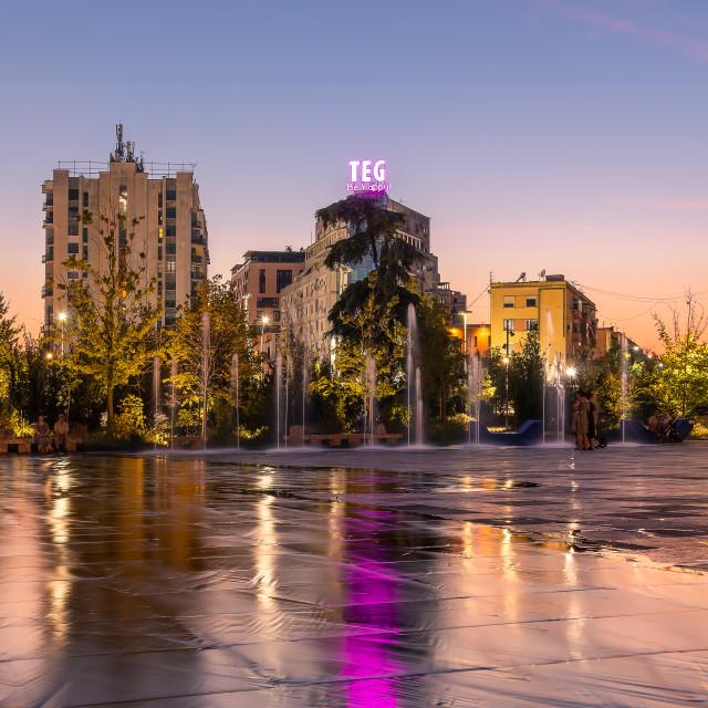 """""""Skanderbeg Square in Tirana, Albania"""" stock image"""