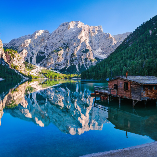 """Lago di braies on a perfect summer day"" stock image"