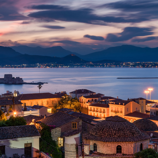 """Sunset in Nafplion"" stock image"