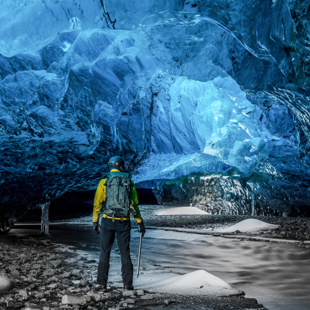 """""""Looking into Crystal Ice Cave"""" stock image"""