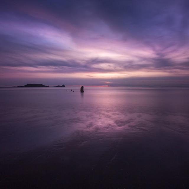 """""""Sunset on Rhossili Bay, South Wales UK"""" stock image"""