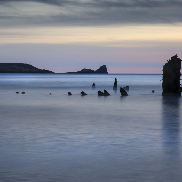 """""""The wreck of the Helvetia on Rhossili Bay, South Wales UK"""" stock image"""