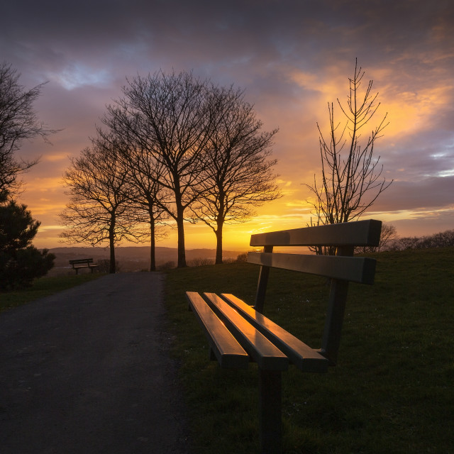 """""""Somewhere to sit at sunset"""" stock image"""