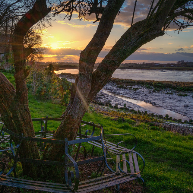 """Sunset Bench At Landermere Quay"" stock image"