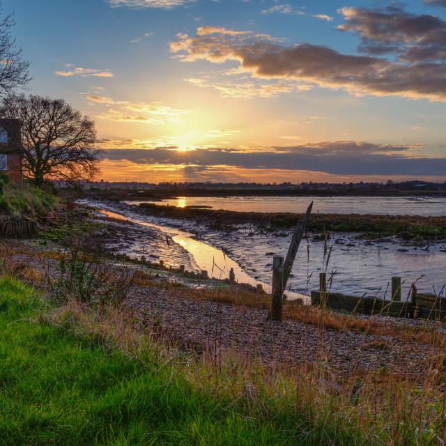 """Landermere Quay Sun Setting"" stock image"