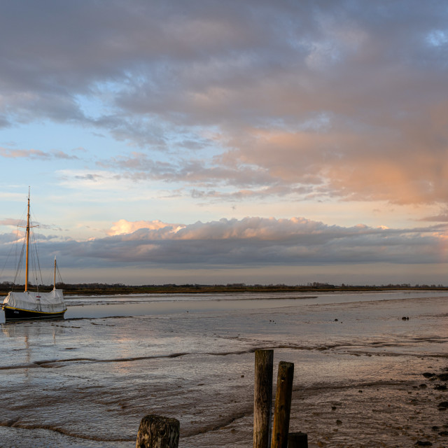 """Hamford Water In Essex With Rainbow"" stock image"