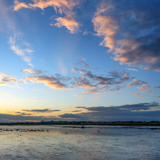 """Sunset Sky At Landermere Quay"" stock image"
