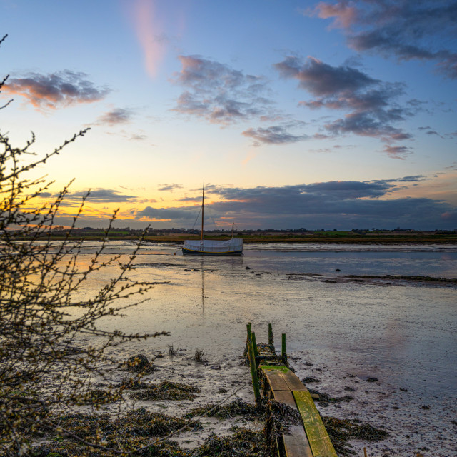 """Landmere Quay Last Light"" stock image"