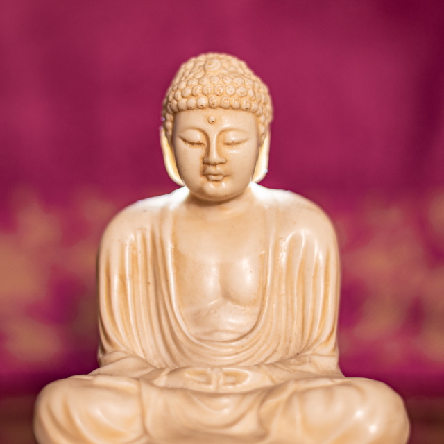 """""""Statuette of Gautama Buddha in light marble in a prayer position"""" stock image"""