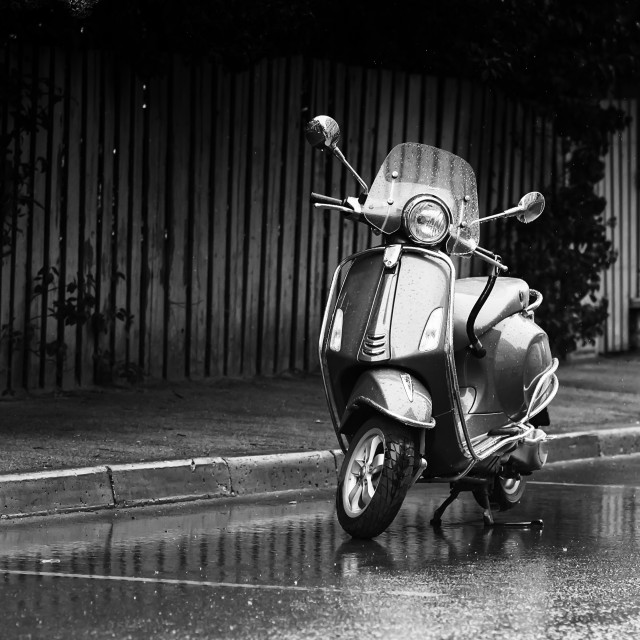 """""""Scooter Parked In The Rain"""" stock image"""