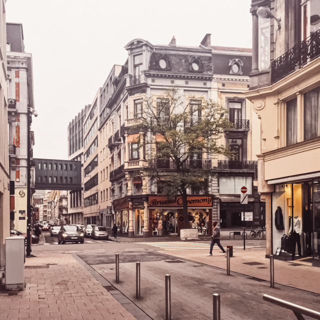 """Streets of Brussels, the capital city of Belgium, european architecture and..."" stock image"