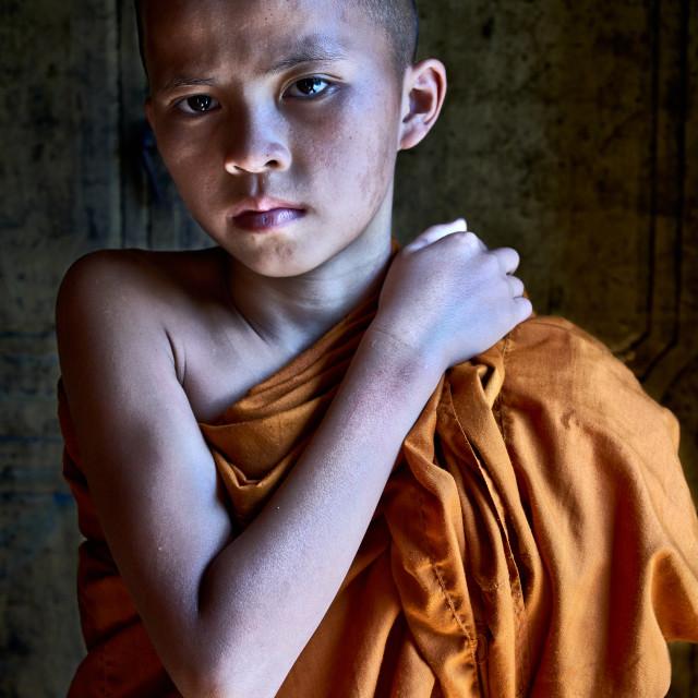 """Buddhist student at the Shwe Yan Pyay Monastery"" stock image"