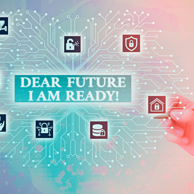 """Conceptual hand writing showing Dear Future I Am Ready. Business photo text..."" stock image"